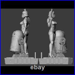 1/6 30cm Star Wars Female Stormtrooper and R2-D2 Resin Figure Model Kit Unpaint
