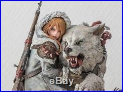 1/6 Anime Girl with Wolf Cartoon Resin Model Kit Unpainted assembly Hobby toys