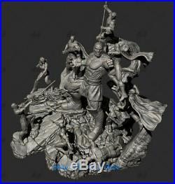 30cm Batman Superman Battle Statue Resin Model Kits Unpainted 3D Printing