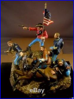 75mm 7th Cavalry Myles Keogh Comanche Vignette Little Big Horn Custer Painted