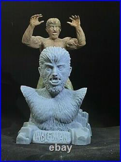 Aurora Monster WOLF MAN & FRANKENSTEIN DUO 1/4 scale Unpainted Resin Model Busts