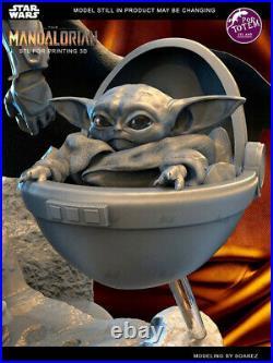 Mandalorian Baby Yoda Unpainted Resin Kits Model GK Figurine 3D Print 30cm