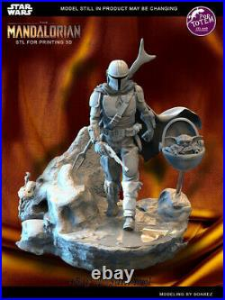Mandalorian Unpainted Resin Kits White Model 3D Print 30cm