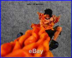 One Piece PortgasD Ace Statue Garage Kit Resin+PVC Collection Fire Fist Model