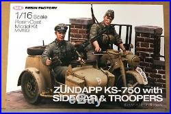 SOL Model 1/16 Zundapp KS-750 with Sidecar & Troopers 120mm Resin Kit MM183 NEW