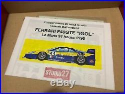 STUDIO27 1/24 FERRARI F40GTE Le Mans 24 HOURS 1996 RESIN MODEL CAR KITS