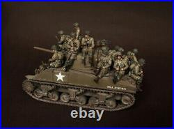 Unpainted 1/35 14pcs US Infantry Soldiers WW2 Resin Figure Model Kit (No Tank)
