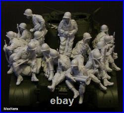 Unpainted 1/35 15pcs US Soldiers Pack Military Resin Figure Model Kit (NO TANK)