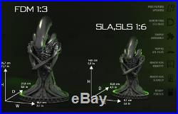 Unpainted and unassembled 1/3 alien bust, PU resin model kit